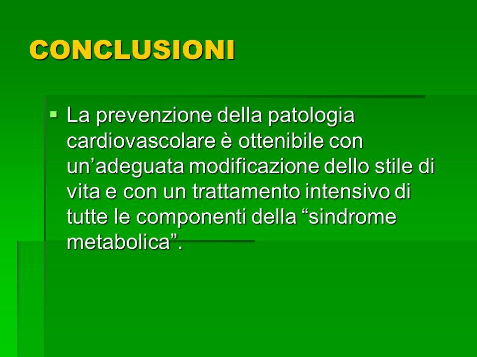 CONCLUSIONI La prevenzione della patologia cardiovascolare è ottenibile con unadeguata modificazione dello stile di vita e con un trattamento intensiv