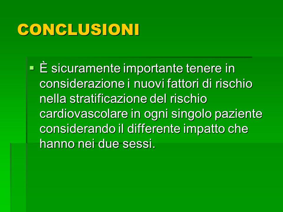 CONCLUSIONI È sicuramente importante tenere in considerazione i nuovi fattori di rischio nella stratificazione del rischio cardiovascolare in ogni sin
