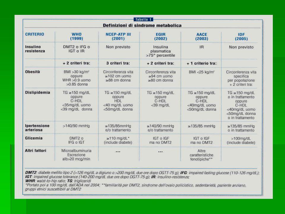LA SINDROME METABOLICA Obesità addominale Dislipidemia aterogena Ipertensione Insulinoresistenza +/- int.