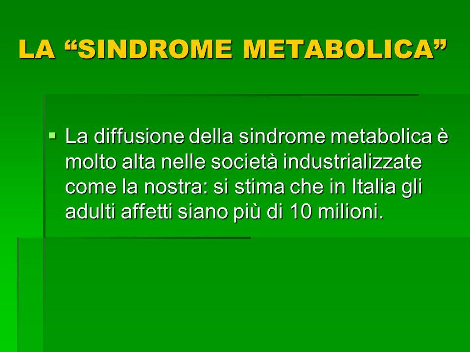 La diffusione della sindrome metabolica è molto alta nelle società industrializzate come la nostra: si stima che in Italia gli adulti affetti siano pi