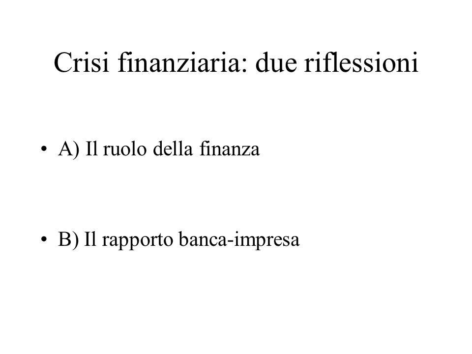 Crisi finanziaria: due riflessioni A) Il ruolo della finanza B) Il rapporto banca-impresa