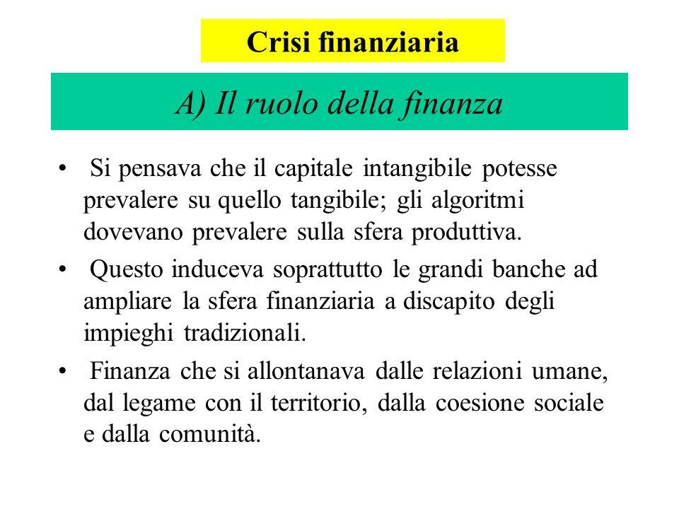A) Il ruolo della finanza Si pensava che il capitale intangibile potesse prevalere su quello tangibile; gli algoritmi dovevano prevalere sulla sfera produttiva.