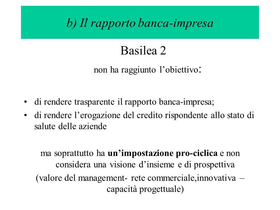 Basilea 2 non ha raggiunto lobiettivo : di rendere trasparente il rapporto banca-impresa; di rendere lerogazione del credito rispondente allo stato di