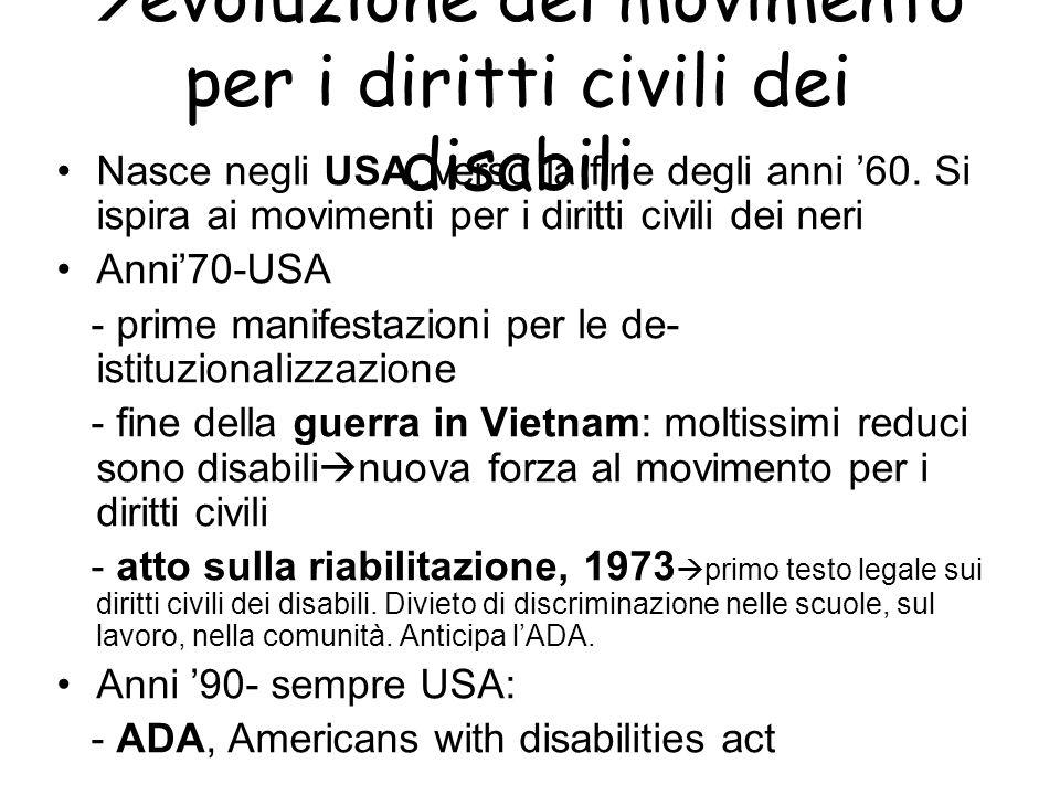 evoluzione del movimento per i diritti civili dei disabili Nasce negli USA, verso la fine degli anni 60. Si ispira ai movimenti per i diritti civili d