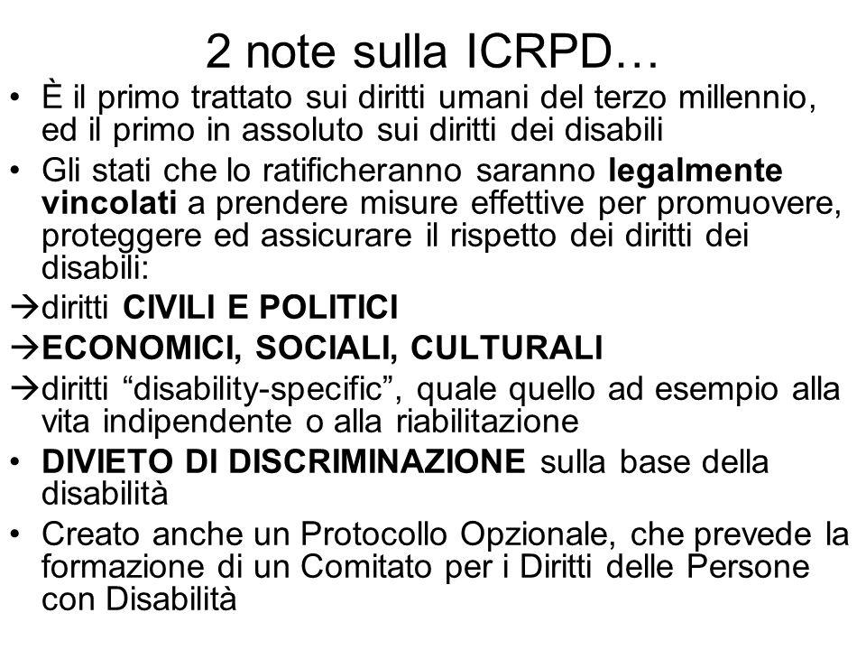 2 note sulla ICRPD… È il primo trattato sui diritti umani del terzo millennio, ed il primo in assoluto sui diritti dei disabili Gli stati che lo ratif