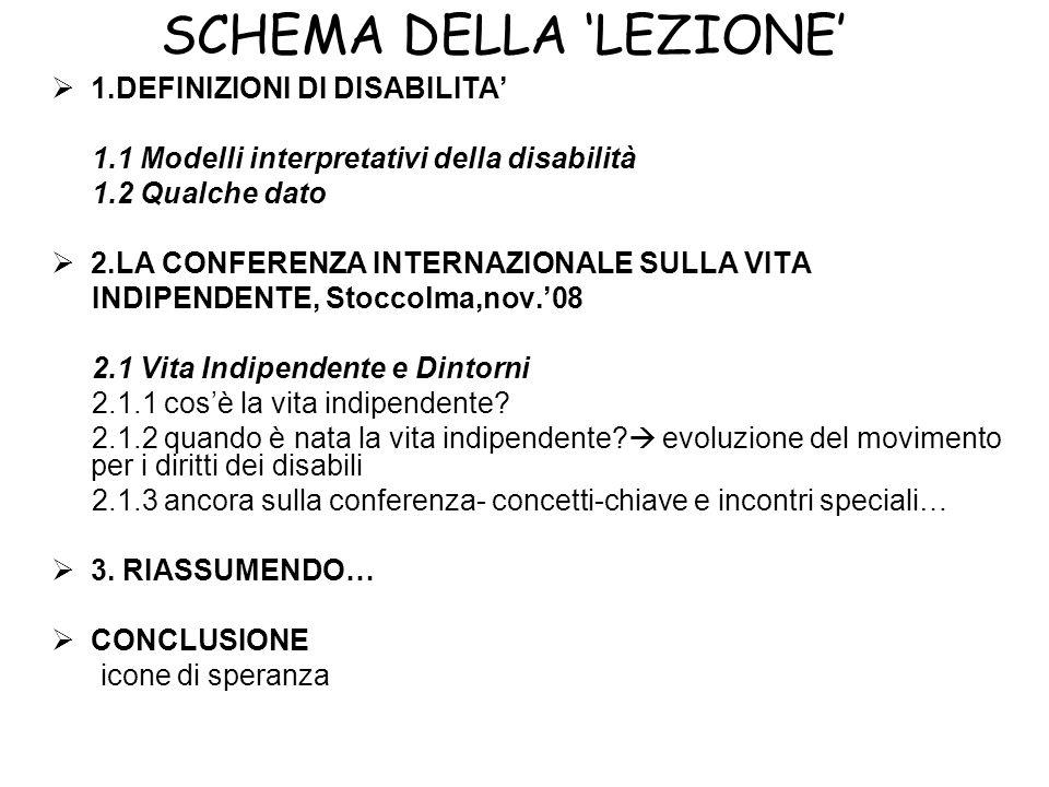 SCHEMA DELLA LEZIONE 1.DEFINIZIONI DI DISABILITA 1.1 Modelli interpretativi della disabilità 1.2 Qualche dato 2.LA CONFERENZA INTERNAZIONALE SULLA VIT