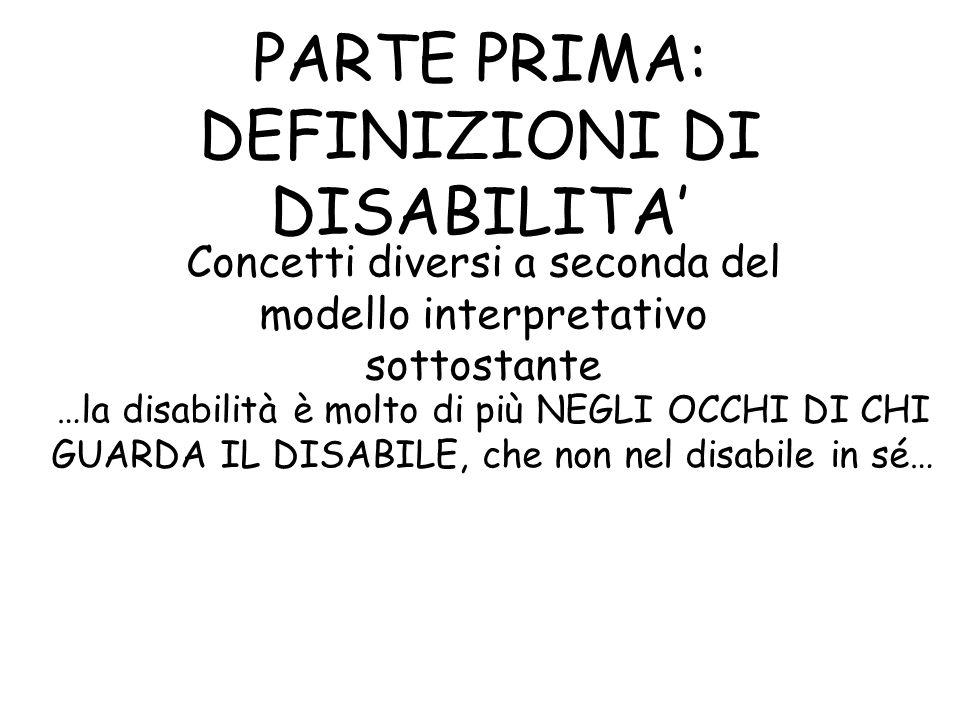 PARTE PRIMA: DEFINIZIONI DI DISABILITA Concetti diversi a seconda del modello interpretativo sottostante …la disabilità è molto di più NEGLI OCCHI DI