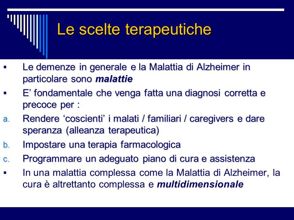 Le scelte terapeutiche Le demenze in generale e la Malattia di Alzheimer in particolare sono malattie Le demenze in generale e la Malattia di Alzheimer in particolare sono malattie E fondamentale che venga fatta una diagnosi corretta e precoce per : E fondamentale che venga fatta una diagnosi corretta e precoce per : a.