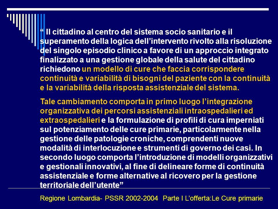 Il cittadino al centro del sistema socio sanitario e il superamento della logica dellintervento rivolto alla risoluzione del singolo episodio clinico