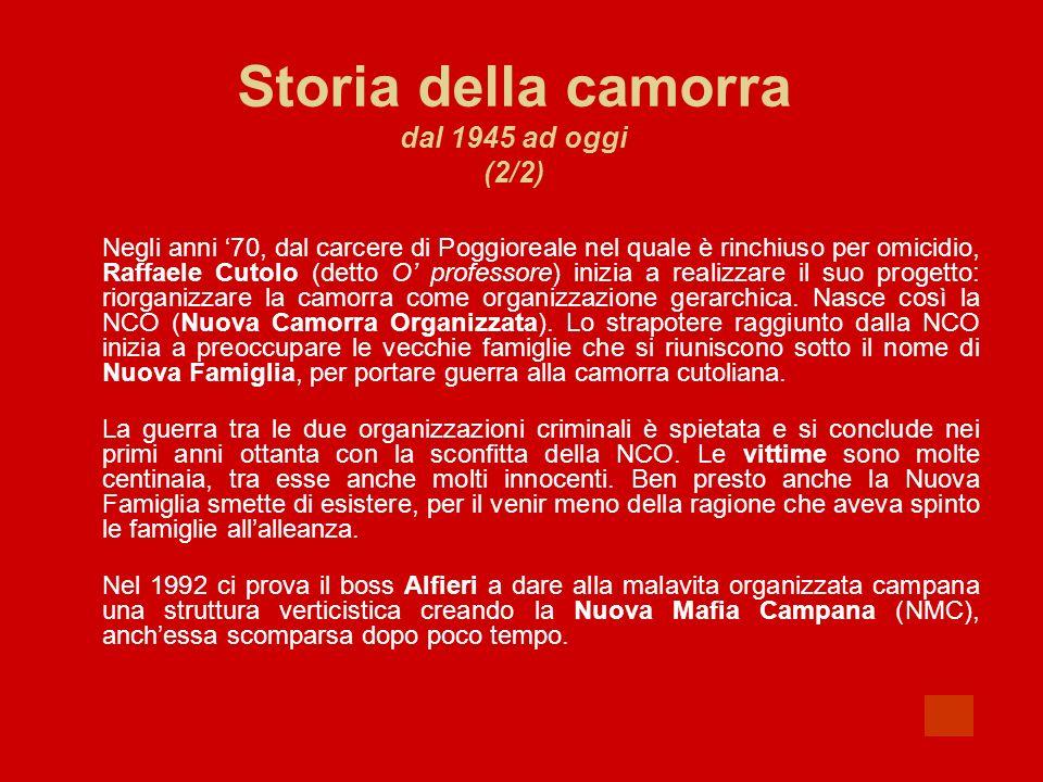 Storia della camorra dal 1945 ad oggi (2/2) Negli anni 70, dal carcere di Poggioreale nel quale è rinchiuso per omicidio, Raffaele Cutolo (detto O pro