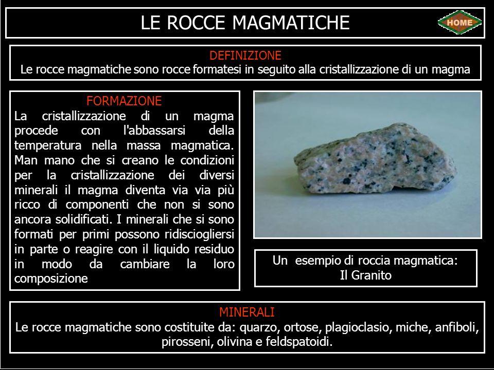 LE ROCCE MAGMATICHE DEFINIZIONE Le rocce magmatiche sono rocce formatesi in seguito alla cristallizzazione di un magma FORMAZIONE La cristallizzazione