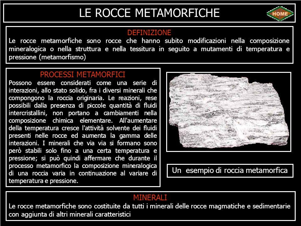 LE ROCCE METAMORFICHE DEFINIZIONE Le rocce metamorfiche sono rocce che hanno subito modificazioni nella composizione mineralogica o nella struttura e