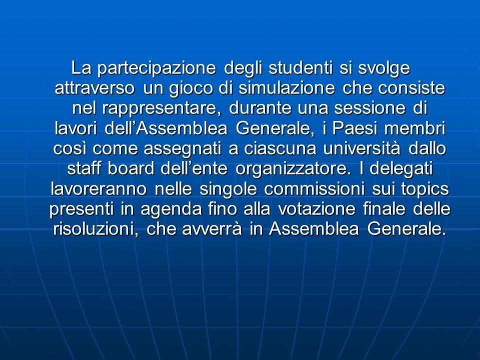La partecipazione degli studenti si svolge attraverso un gioco di simulazione che consiste nel rappresentare, durante una sessione di lavori dellAssemblea Generale, i Paesi membri così come assegnati a ciascuna università dallo staff board dellente organizzatore.