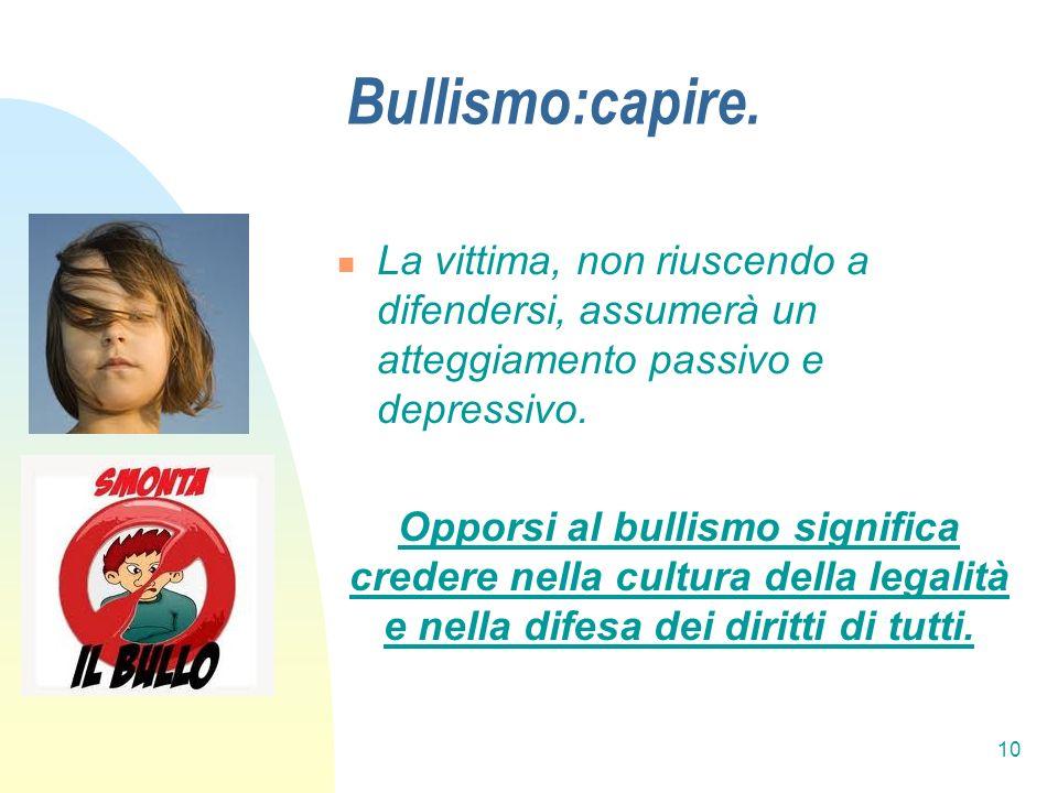 10 Bullismo:capire. La vittima, non riuscendo a difendersi, assumerà un atteggiamento passivo e depressivo. Opporsi al bullismo significa credere nell