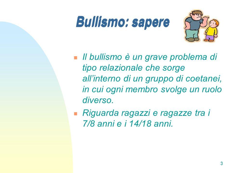 3 Bullismo: sapere Il bullismo è un grave problema di tipo relazionale che sorge allinterno di un gruppo di coetanei, in cui ogni membro svolge un ruo