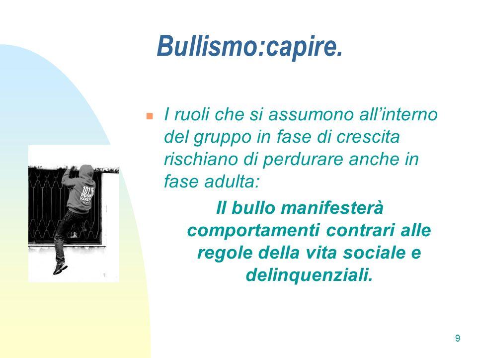 9 Bullismo:capire. I ruoli che si assumono allinterno del gruppo in fase di crescita rischiano di perdurare anche in fase adulta: Il bullo manifesterà