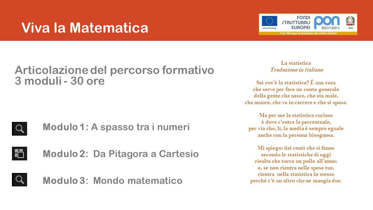 Viva la Matematica Articolazione del percorso formativo 3 moduli - 30 ore Modulo 1: A spasso tra i numeri Modulo 2: Da Pitagora a Cartesio Modulo 3: Mondo matematico