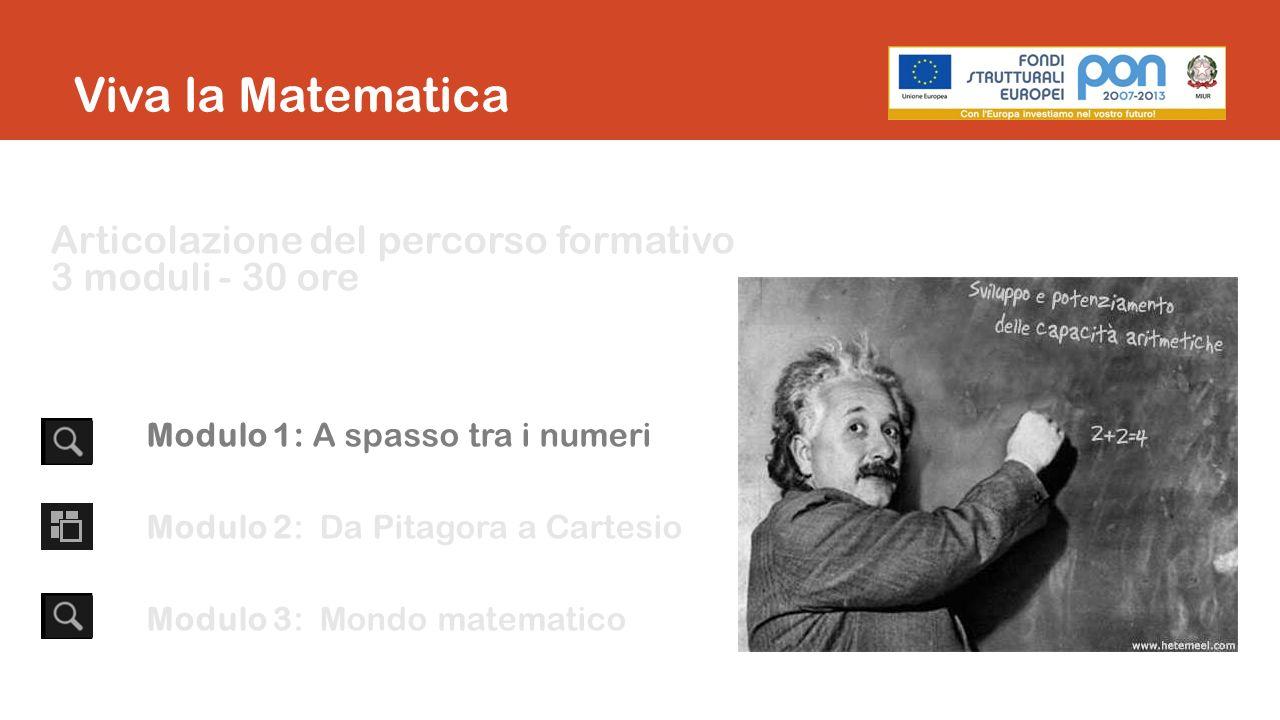 Articolazione del percorso formativo 3 moduli - 30 ore Modulo 1: A spasso tra i numeri Modulo 2: Da Pitagora a Cartesio Modulo 3: Mondo matematico Viva la Matematica