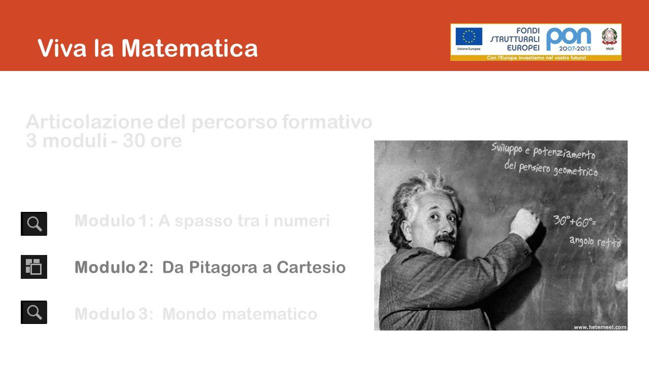 Articolazione del percorso formativo 3 moduli - 30 ore Modulo 1: A spasso tra i numeri Modulo 2: Da Pitagora a Cartesio Modulo 3: Mondo matematico