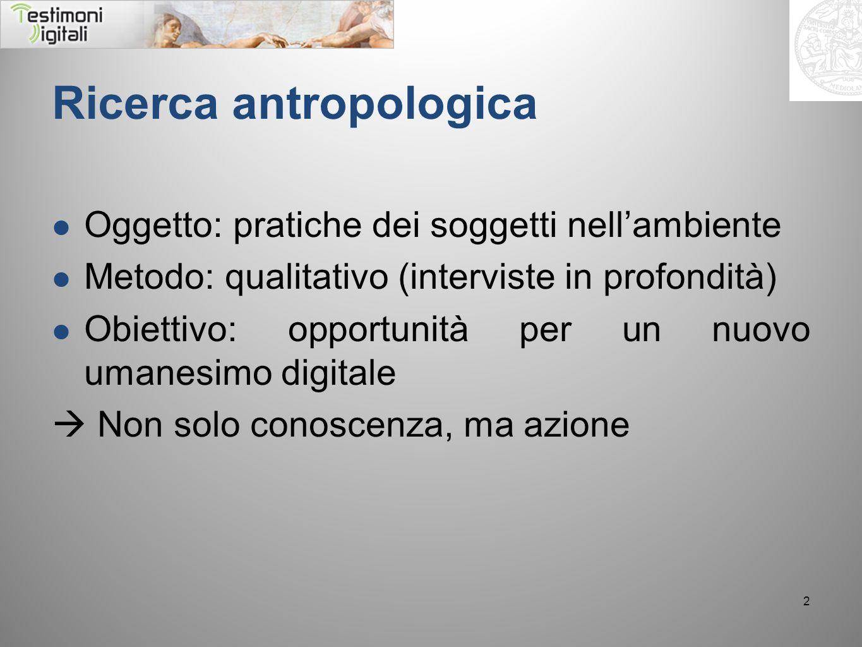 Ricerca antropologica Oggetto: pratiche dei soggetti nellambiente Metodo: qualitativo (interviste in profondità) Obiettivo: opportunità per un nuovo u