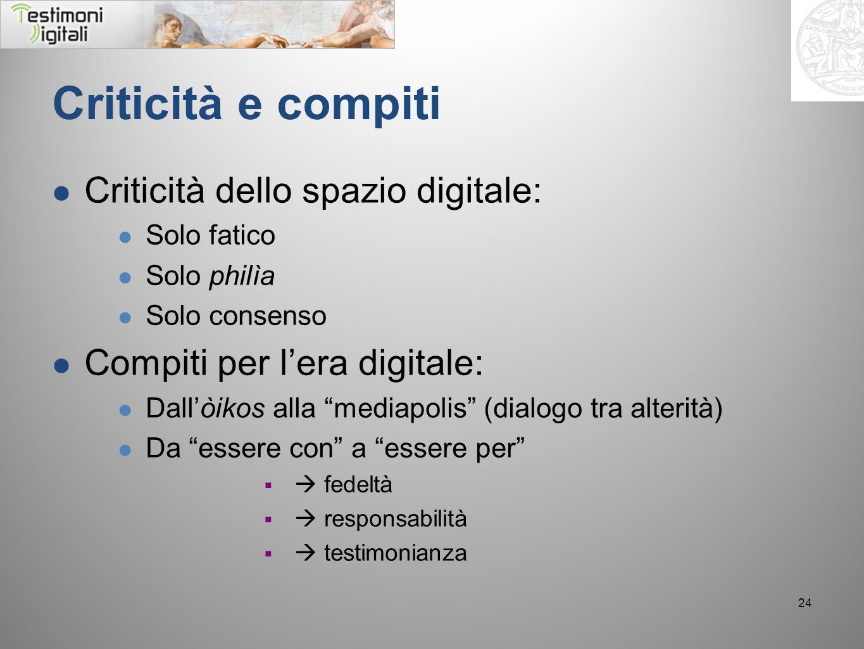 Criticità e compiti Criticità dello spazio digitale: Solo fatico Solo philìa Solo consenso Compiti per lera digitale: Dallòikos alla mediapolis (dialo
