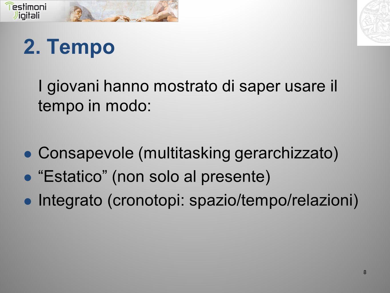 2. Tempo I giovani hanno mostrato di saper usare il tempo in modo: Consapevole (multitasking gerarchizzato) Estatico (non solo al presente) Integrato