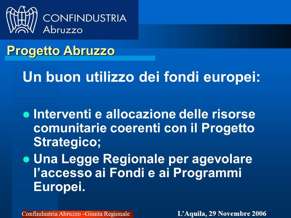 Confindustria Abruzzo -Giunta Regionale LAquila, 29 Novembre 2006 Progetto Abruzzo Progetto Abruzzo Un buon utilizzo dei fondi europei: Interventi e allocazione delle risorse comunitarie coerenti con il Progetto Strategico; Una Legge Regionale per agevolare laccesso ai Fondi e ai Programmi Europei.