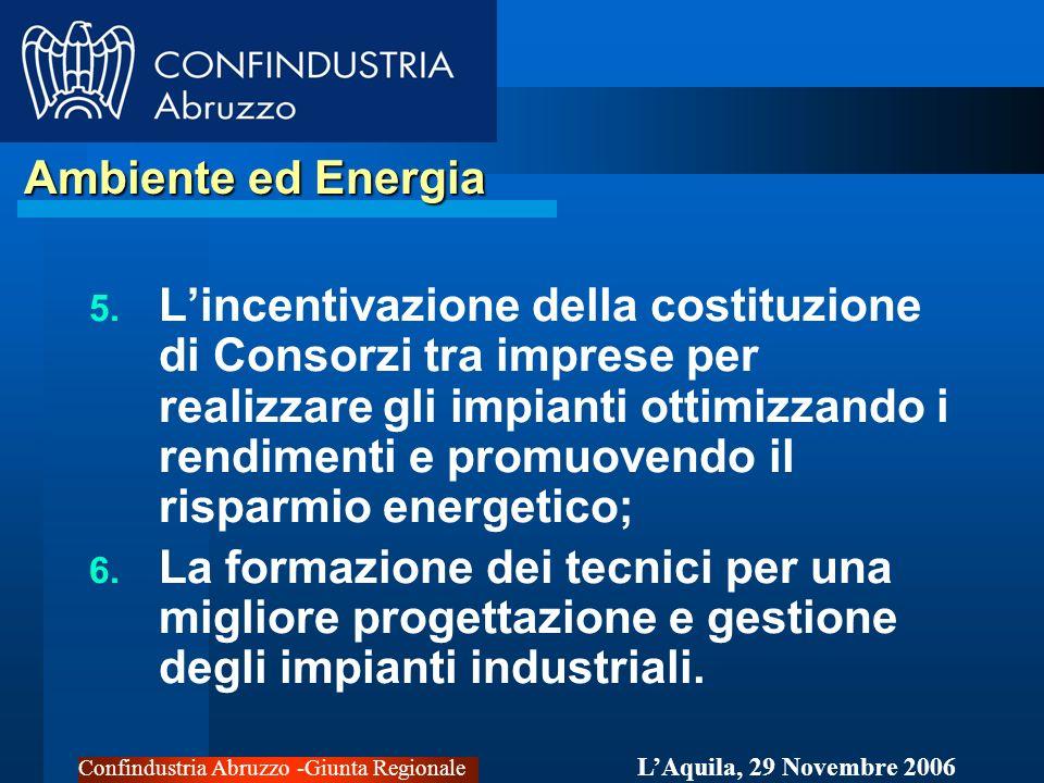 Confindustria Abruzzo -Giunta Regionale LAquila, 29 Novembre 2006 Ambiente ed Energia Ambiente ed Energia 5.