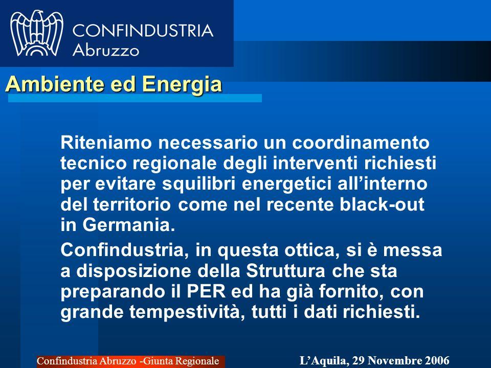 Confindustria Abruzzo -Giunta Regionale LAquila, 29 Novembre 2006 Ambiente ed Energia Riteniamo necessario un coordinamento tecnico regionale degli interventi richiesti per evitare squilibri energetici allinterno del territorio come nel recente black-out in Germania.