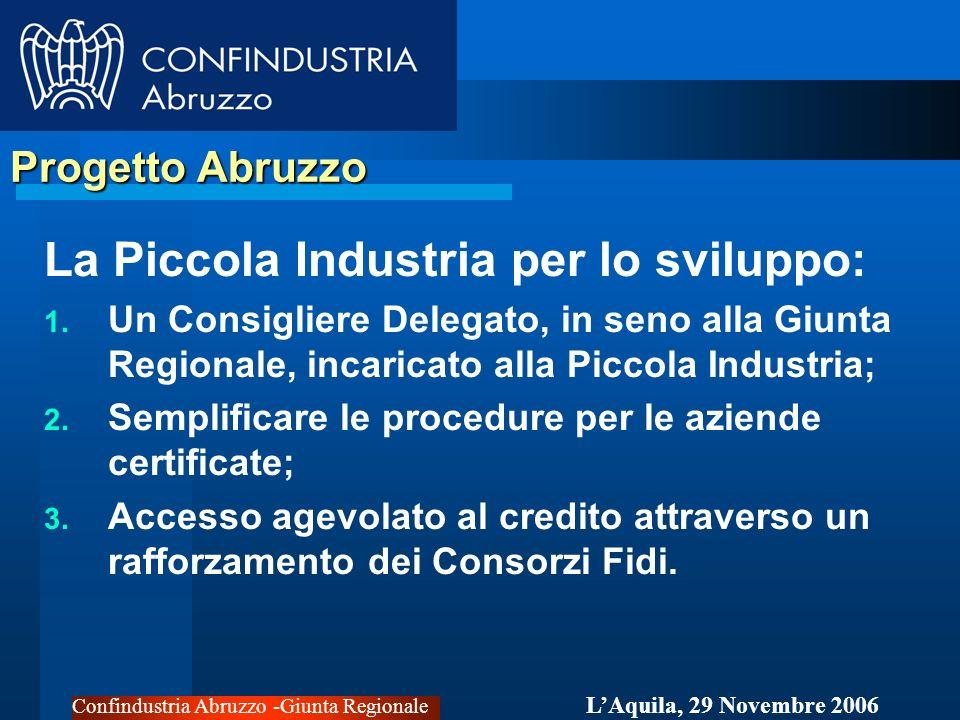 Confindustria Abruzzo -Giunta Regionale LAquila, 29 Novembre 2006 Politiche Industriali Far crescere la Piccola Industria per lo sviluppo del tessuto imprenditoriale; Attrarre la grande impresa.