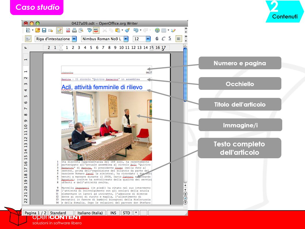 Titolo dell articolo Immagine/i Testo completo dell articolo Numero e pagina Occhiello Caso studio Contenuti 2