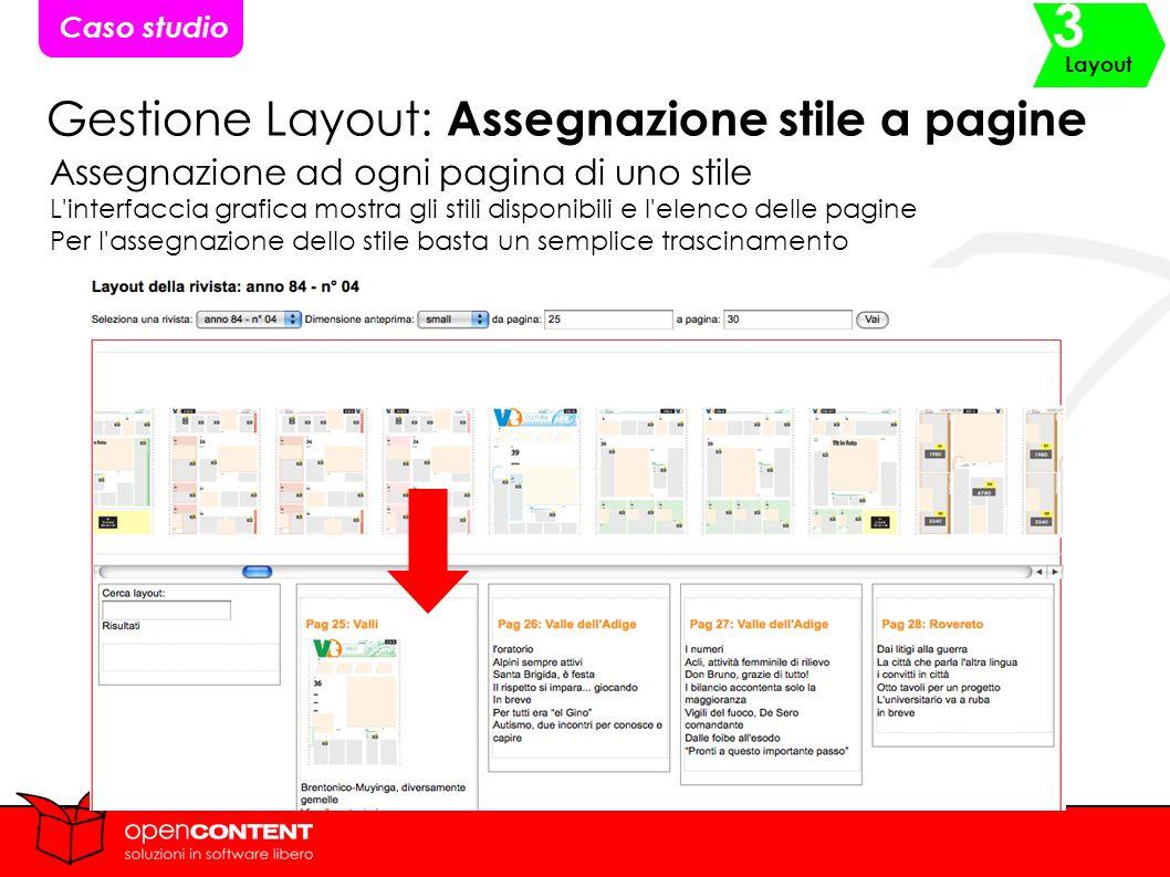 Gestione Layout: Assegnazione stile a pagine Assegnazione ad ogni pagina di uno stile L interfaccia grafica mostra gli stili disponibili e l elenco delle pagine Per l assegnazione dello stile basta un semplice trascinamento Caso studio Layout 3