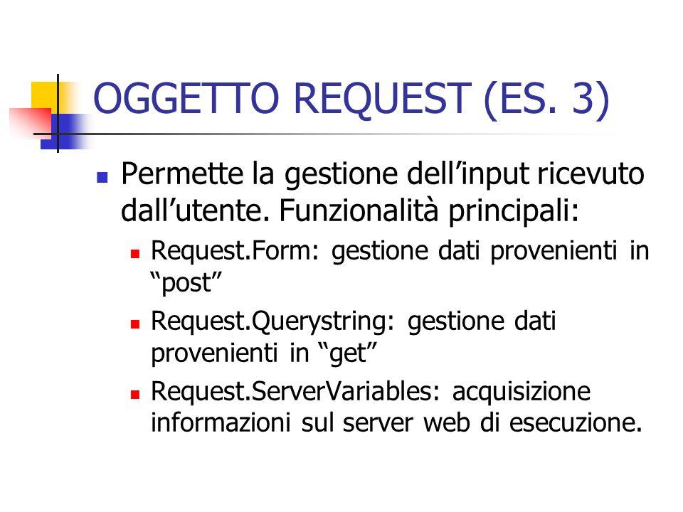 OGGETTO REQUEST (ES. 3) Permette la gestione dellinput ricevuto dallutente. Funzionalità principali: Request.Form: gestione dati provenienti in post R
