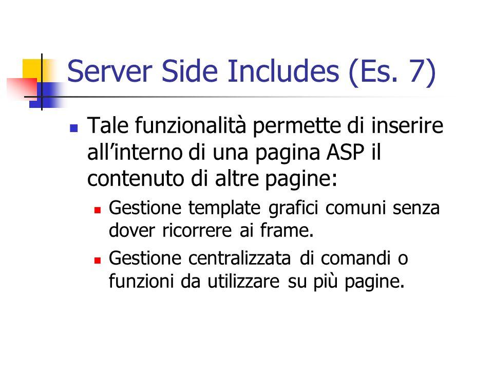 Server Side Includes (Es. 7) Tale funzionalità permette di inserire allinterno di una pagina ASP il contenuto di altre pagine: Gestione template grafi