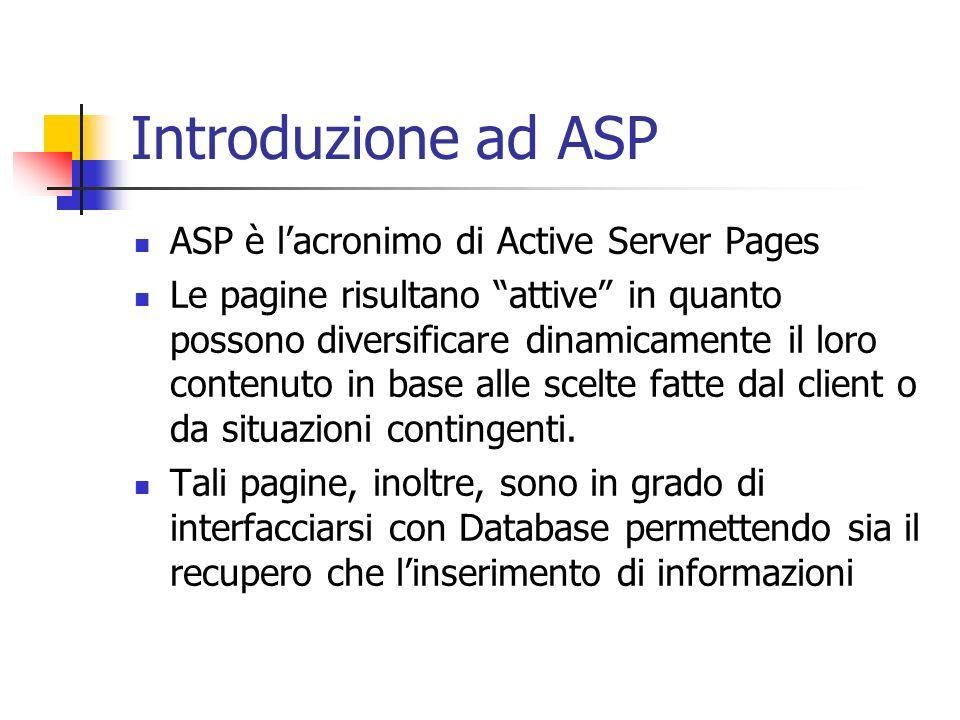 Introduzione ad ASP ASP è lacronimo di Active Server Pages Le pagine risultano attive in quanto possono diversificare dinamicamente il loro contenuto