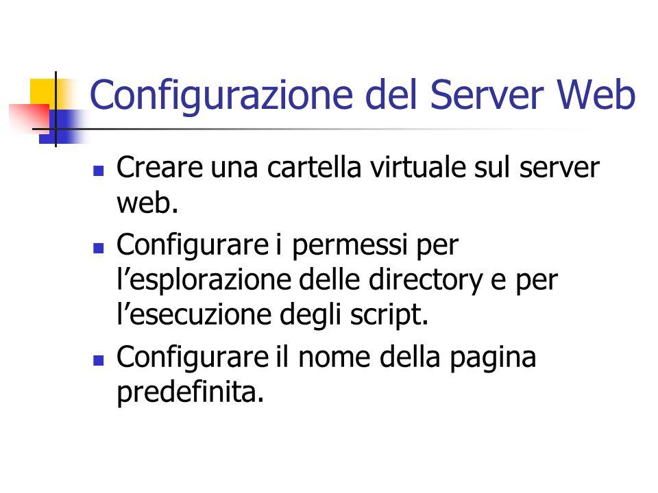 Configurazione del Server Web Creare una cartella virtuale sul server web. Configurare i permessi per lesplorazione delle directory e per lesecuzione