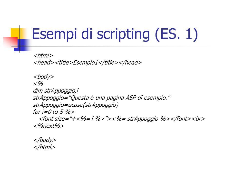 Esempi di scripting (ES. 1) Esempio1 <% dim strAppoggio,i strAppoggio=