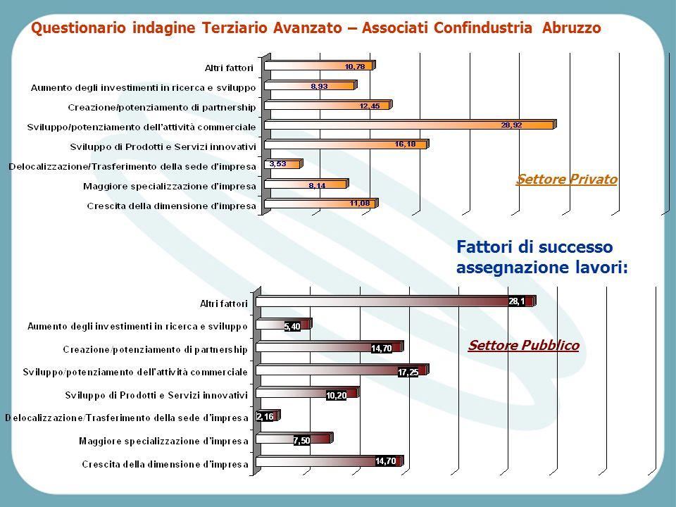Pescara, Venerdì 2 aprile 2004 Fattori di successo assegnazione lavori: Settore Pubblico Settore Privato Questionario indagine Terziario Avanzato – Associati Confindustria Abruzzo