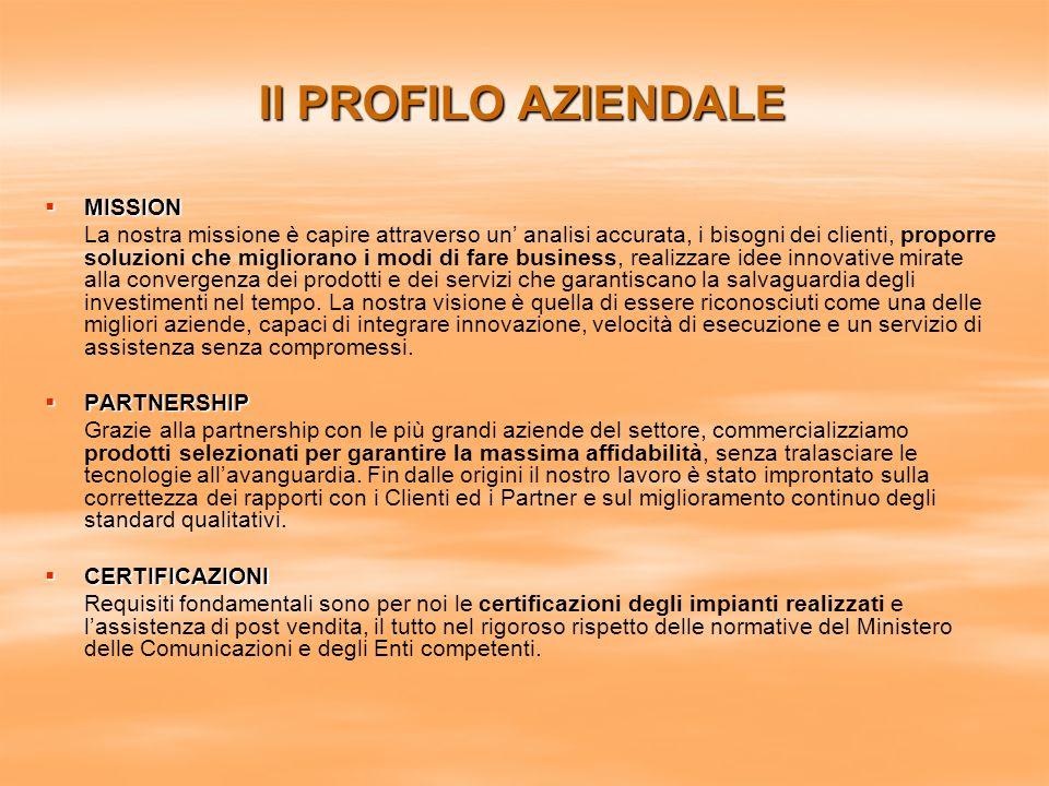 Il PROFILO AZIENDALE MISSION MISSION La nostra missione è capire attraverso un analisi accurata, i bisogni dei clienti, proporre soluzioni che miglior