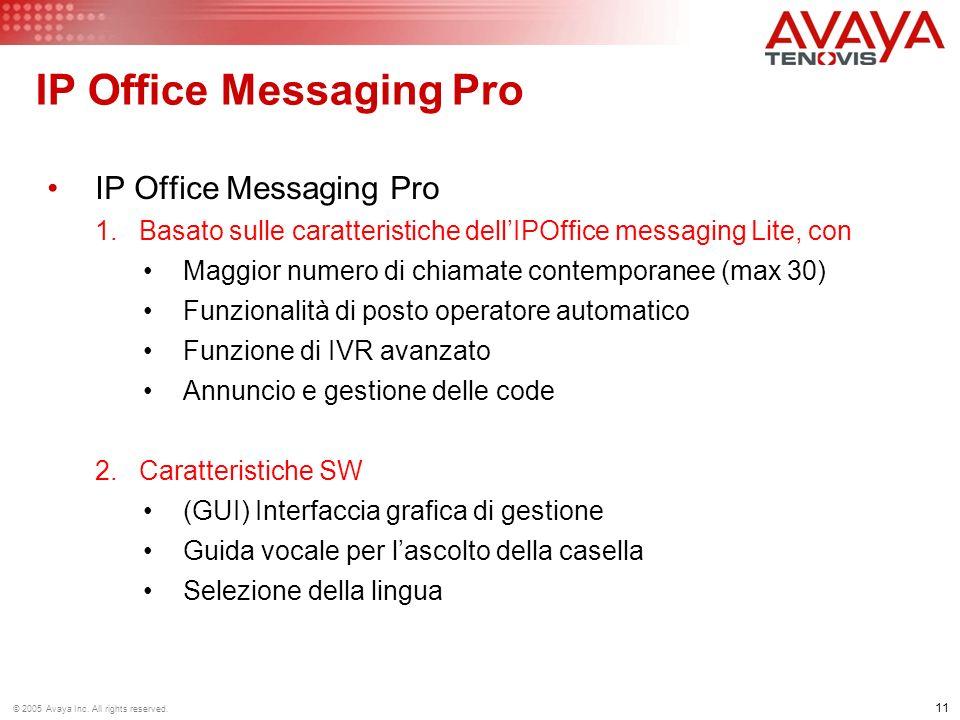 11 © 2005 Avaya Inc. All rights reserved. IP Office Messaging Pro 1.Basato sulle caratteristiche dellIPOffice messaging Lite, con Maggior numero di ch