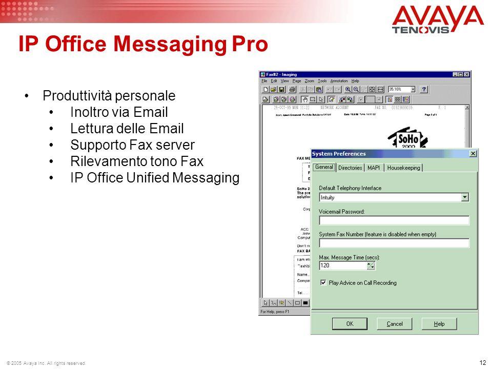 12 © 2005 Avaya Inc. All rights reserved. Produttività personale Inoltro via Email Lettura delle Email Supporto Fax server Rilevamento tono Fax IP Off