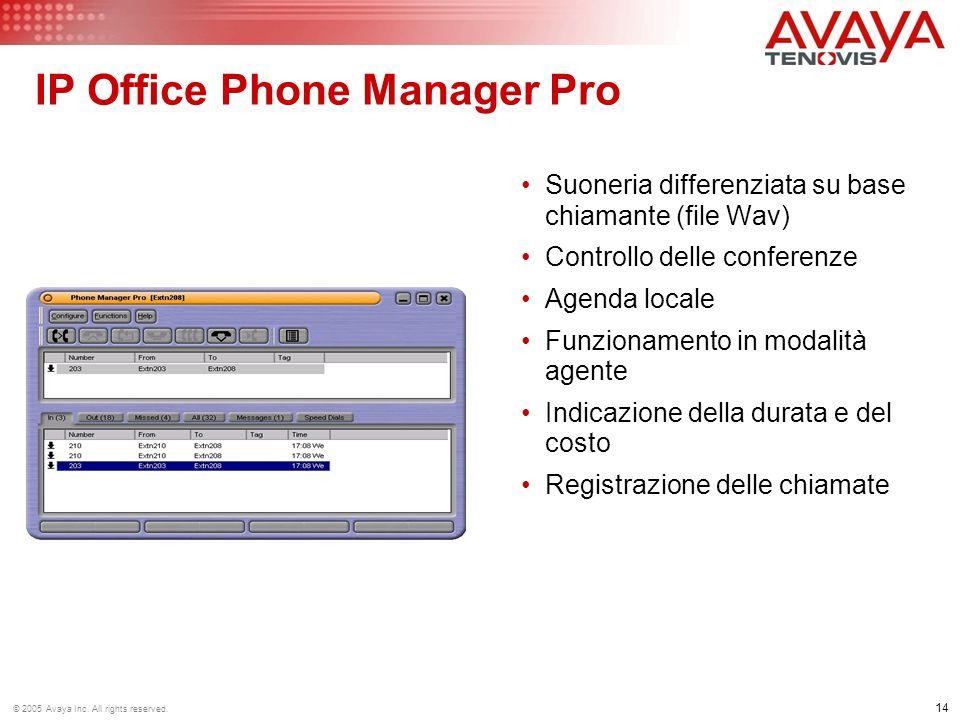 14 © 2005 Avaya Inc. All rights reserved. IP Office Phone Manager Pro Suoneria differenziata su base chiamante (file Wav) Controllo delle conferenze A