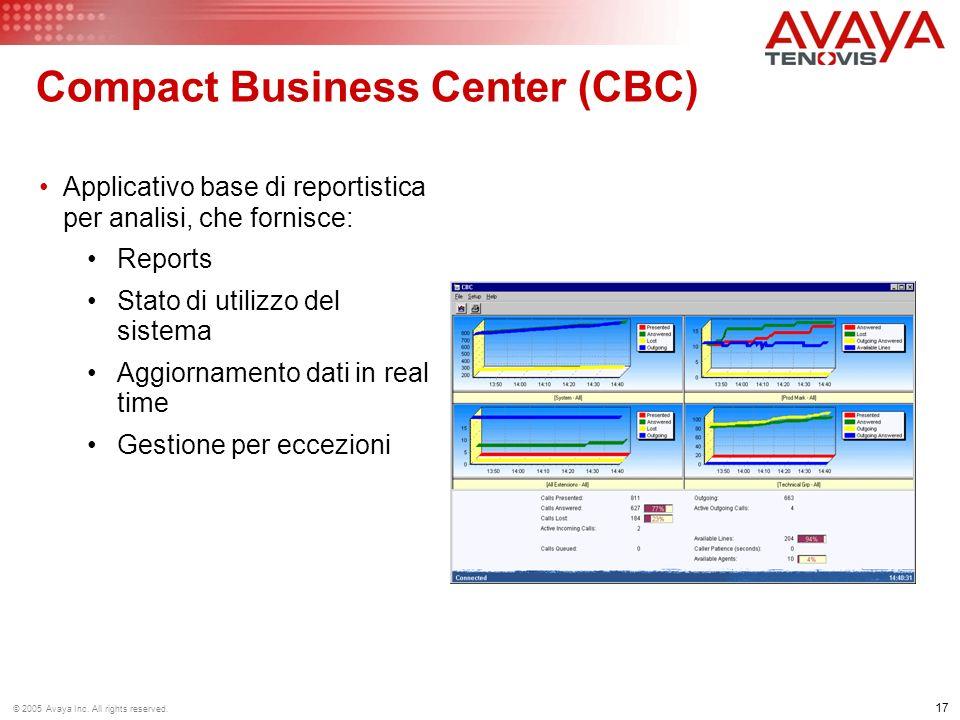 17 © 2005 Avaya Inc. All rights reserved. Compact Business Center (CBC) Applicativo base di reportistica per analisi, che fornisce: Reports Stato di u