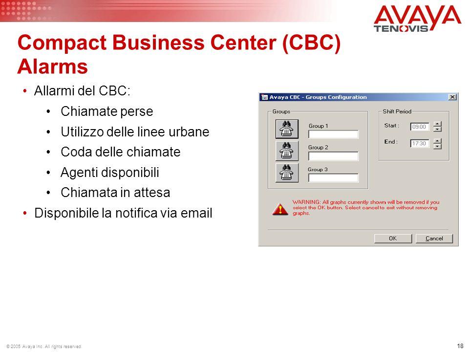 18 © 2005 Avaya Inc. All rights reserved. Compact Business Center (CBC) Alarms Allarmi del CBC: Chiamate perse Utilizzo delle linee urbane Coda delle