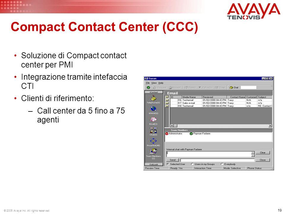 19 © 2005 Avaya Inc. All rights reserved. Compact Contact Center (CCC) Soluzione di Compact contact center per PMI Integrazione tramite intefaccia CTI