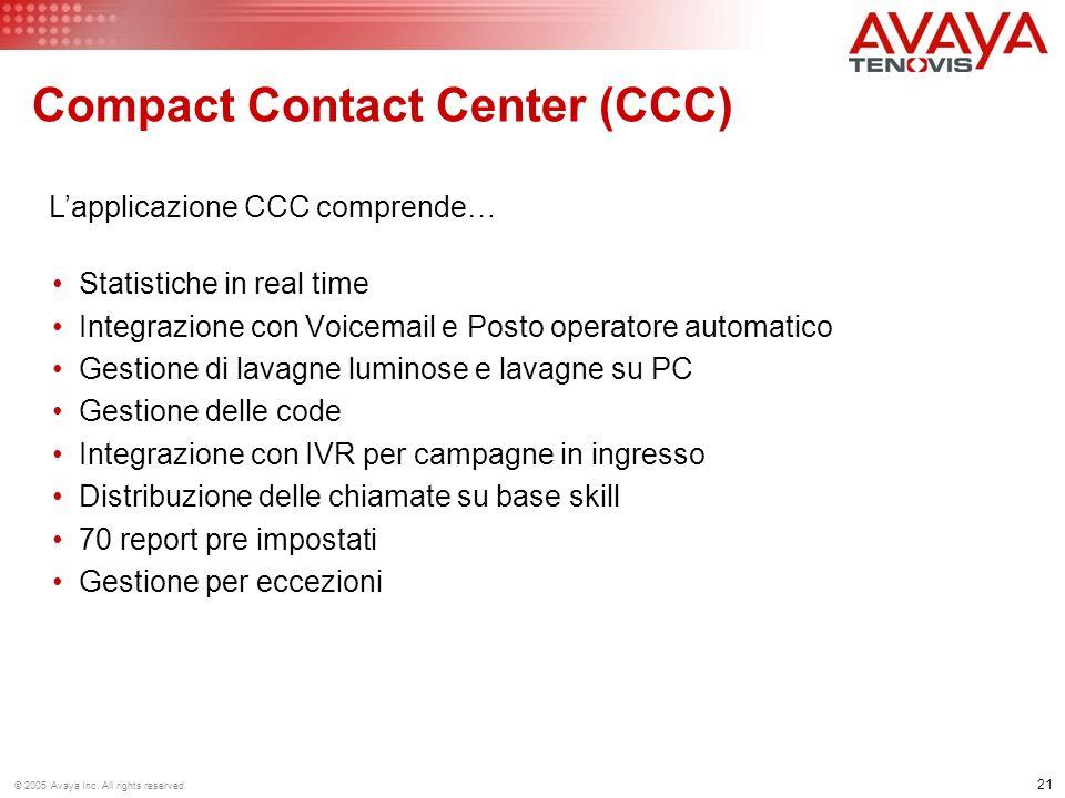 21 © 2005 Avaya Inc. All rights reserved. Statistiche in real time Integrazione con Voicemail e Posto operatore automatico Gestione di lavagne luminos