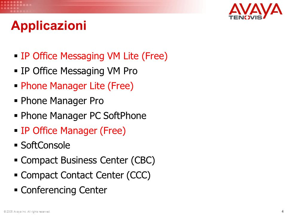 4 © 2005 Avaya Inc. All rights reserved. Applicazioni IP Office Messaging VM Lite (Free) IP Office Messaging VM Pro Phone Manager Lite (Free) Phone Ma