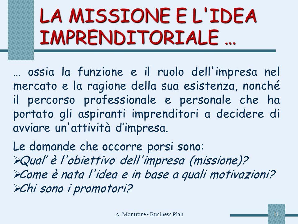 A. Montrone - Business Plan11 LA MISSIONE E L'IDEA IMPRENDITORIALE … … ossia la funzione e il ruolo dell'impresa nel mercato e la ragione della sua es