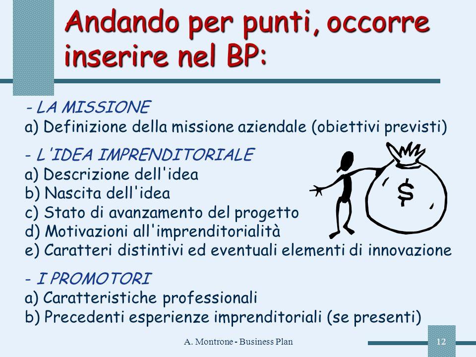 A. Montrone - Business Plan12 Andando per punti, occorre inserire nel BP: - LA MISSIONE a) Definizione della missione aziendale (obiettivi previsti) -