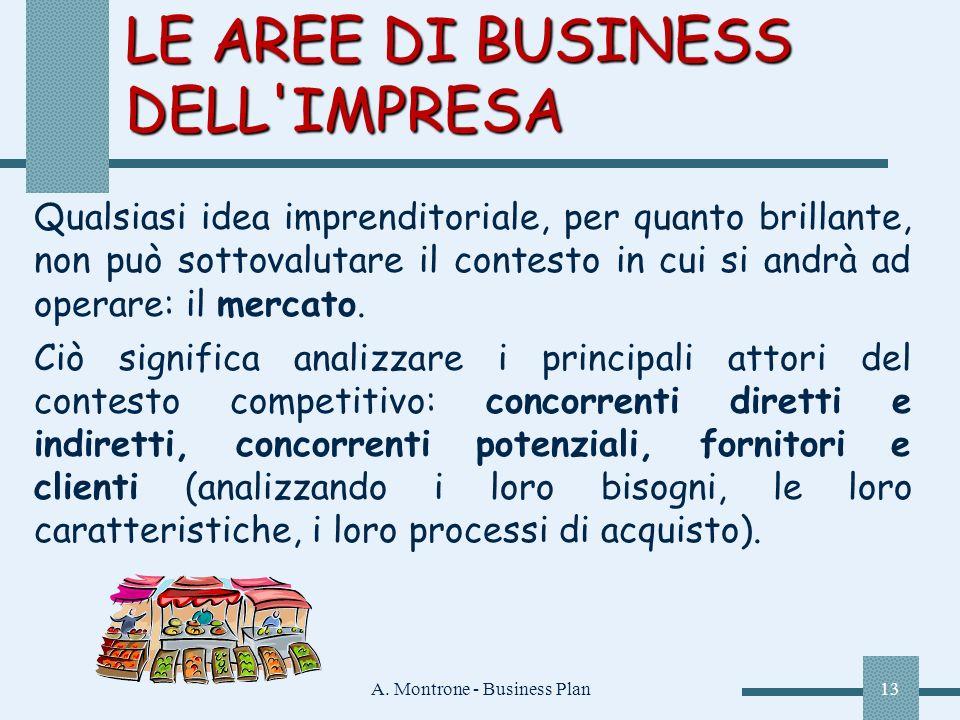 A. Montrone - Business Plan13 LE AREE DI BUSINESS DELL'IMPRESA Qualsiasi idea imprenditoriale, per quanto brillante, non può sottovalutare il contesto
